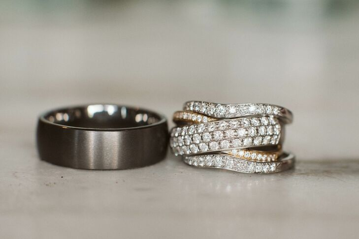 Pave Diamond Ring and Charcoal Wedding Band