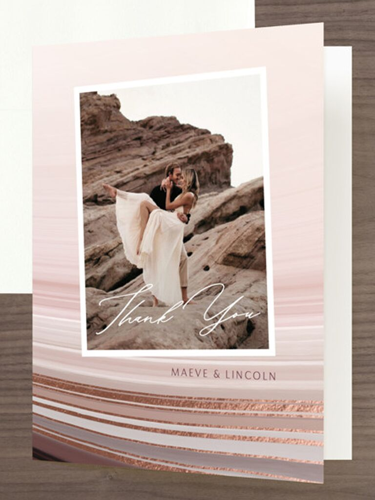 couple photo wedding thank-you card with foil backdrop