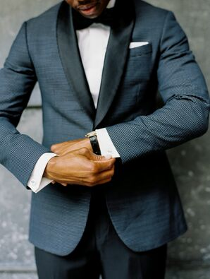 Formal Groom Wearing Dark Blue Tuxedo and Watch