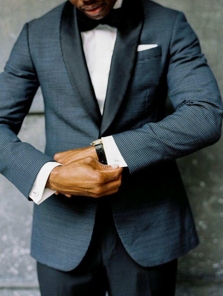 Formal Groom Wearing Dark Blue Tuxedo and Watch