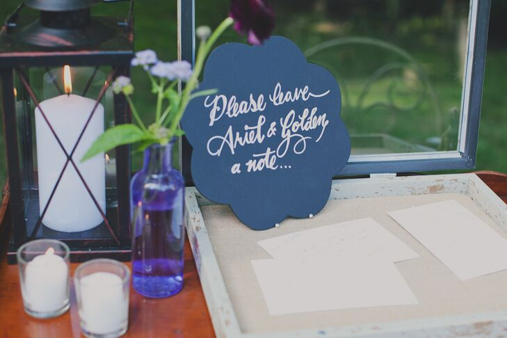 Blue Calligraphed Guest Book Sign