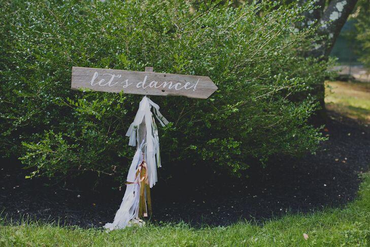 Rustic Wood Wedding Reception Dancing Sign