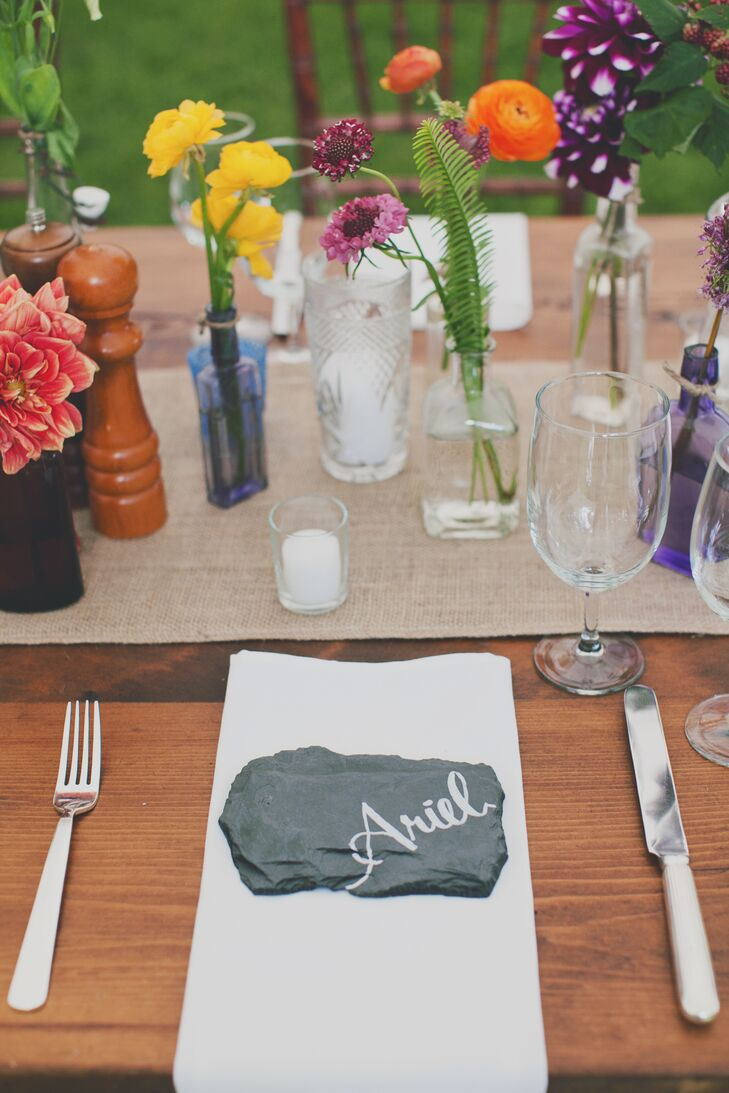 Rustic Calligraphed Slate Place Setting
