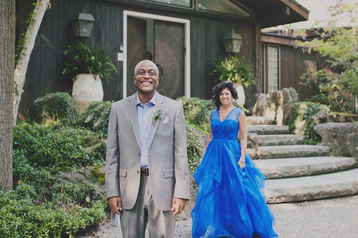 Backyard Wedding First Look in Blue Wedding Dress