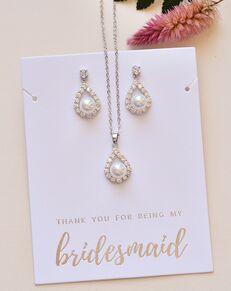 Dareth Colburn Elegance Pearl Bridesmaid Pendant Set (JS-1679-BR) Wedding Necklace photo