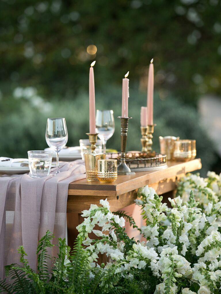 Elegant Bridgerton-inspired tablescape with candlesticks