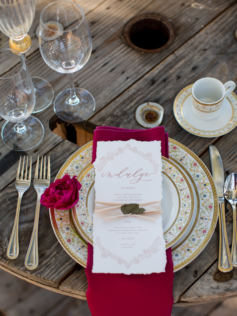 wedding reception table setting red and blush vintage