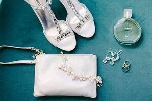 White Bridal Clutch, Jeweled Shoes, and Custom Jewelry