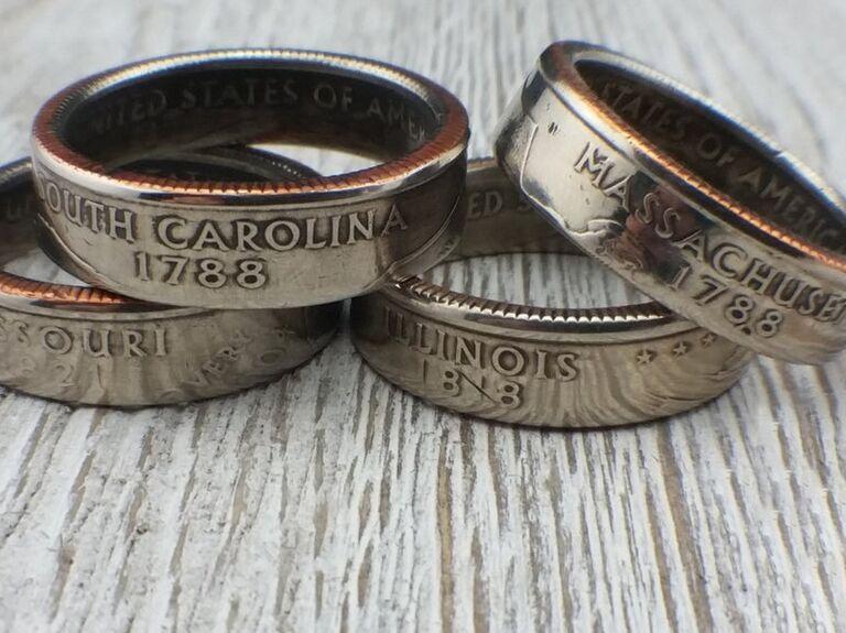 Four quarter rings representing different US states