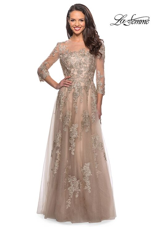La Femme Evening 27733 Gold Mother Of The Bride Dress