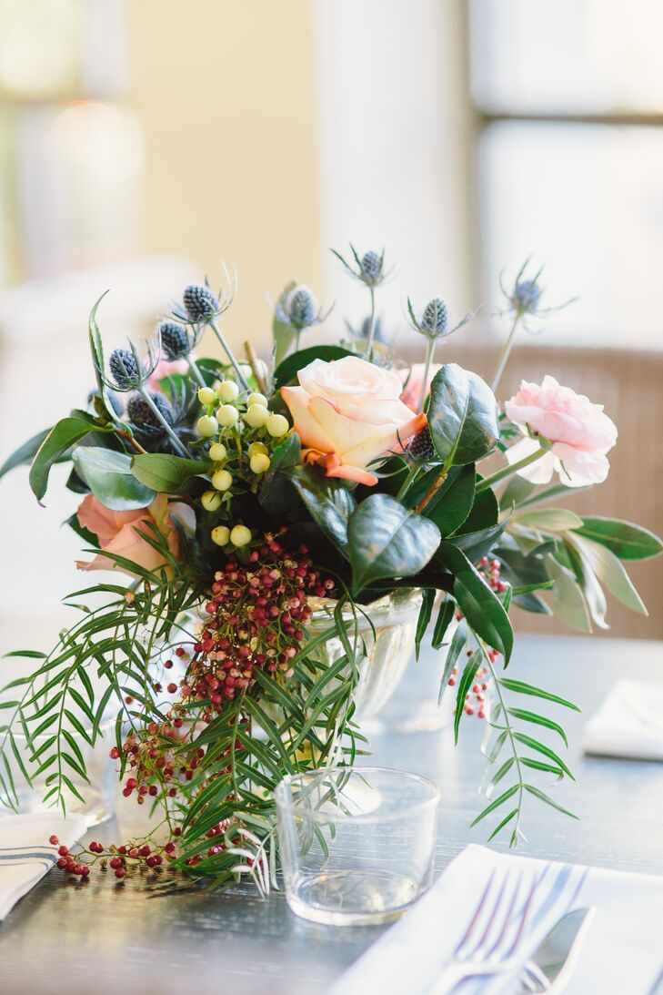 Blue Thistle Centerpiece with Greenery