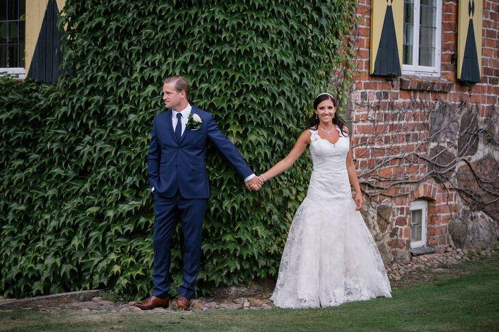 Bride and Groom First Look in Ängelholm, Sweden