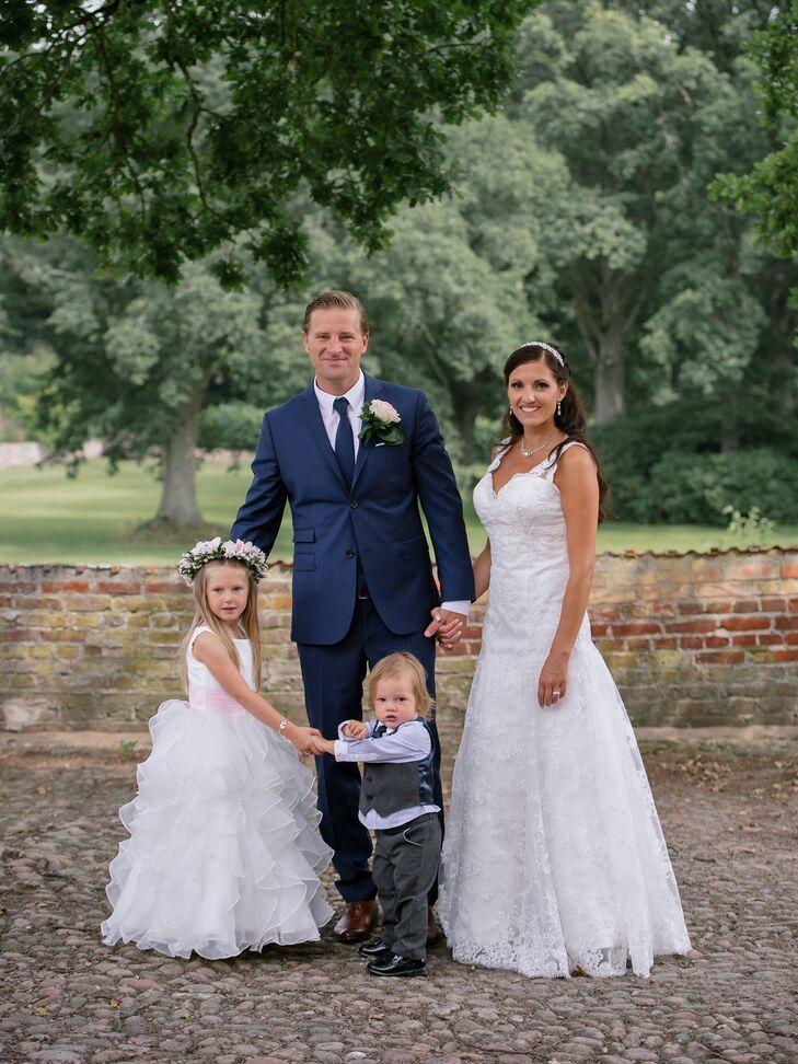The couple's daughter wore a custom-made dress from China. Their son wore a suit.