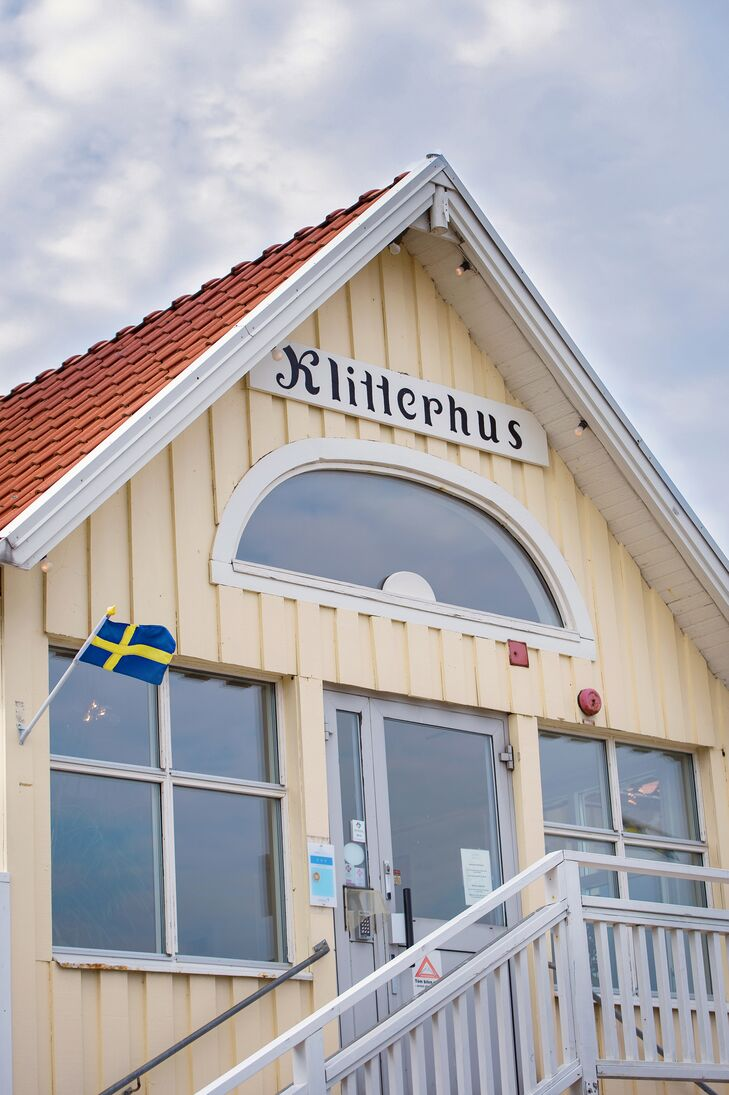 """The couple hosted the reception at the historic Klitterhus Havsbadshotell, an intimate seaside hotel. """"We chose that location because we love the ocean and know the restaurant very well,"""" says Alexandra."""