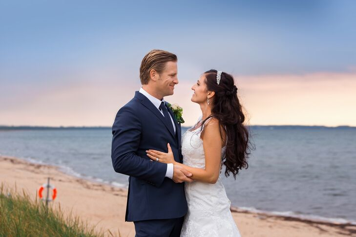 Bride and Groom on Beach in Ängelholm, Sweden