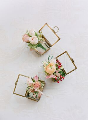 Pastel Boutonnieres with Roses and Ranunculus
