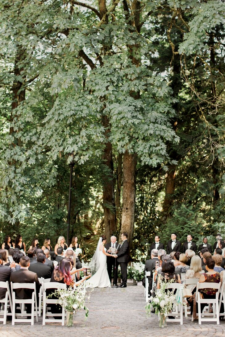 Intimate Outdoor Stone Terrace Ceremony