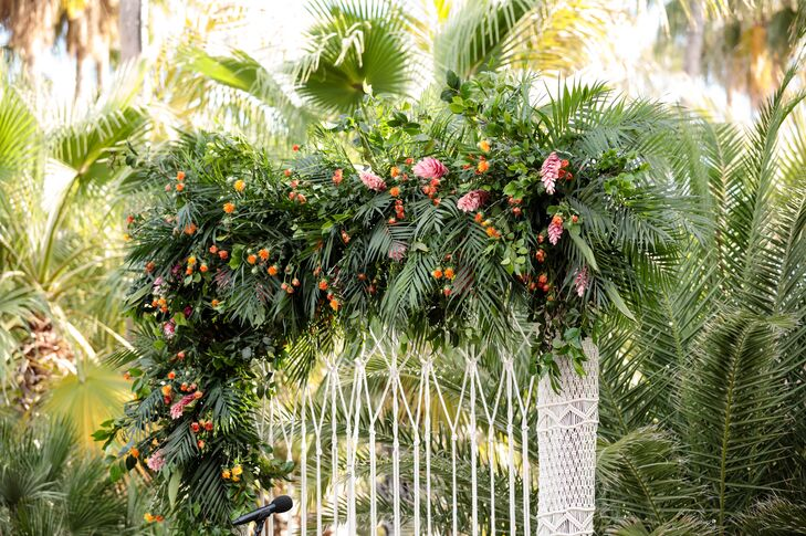 Palm Leaf and Macramé Wedding Arch