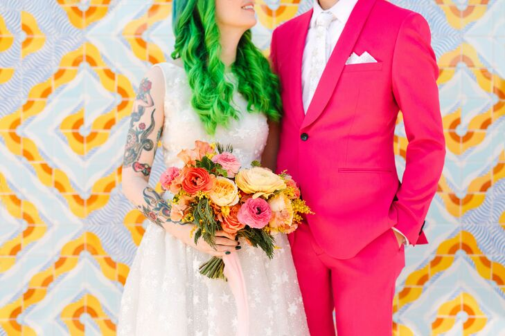 Neon Wedding-Day Portraits at the Unique Space in Los Angeles, California