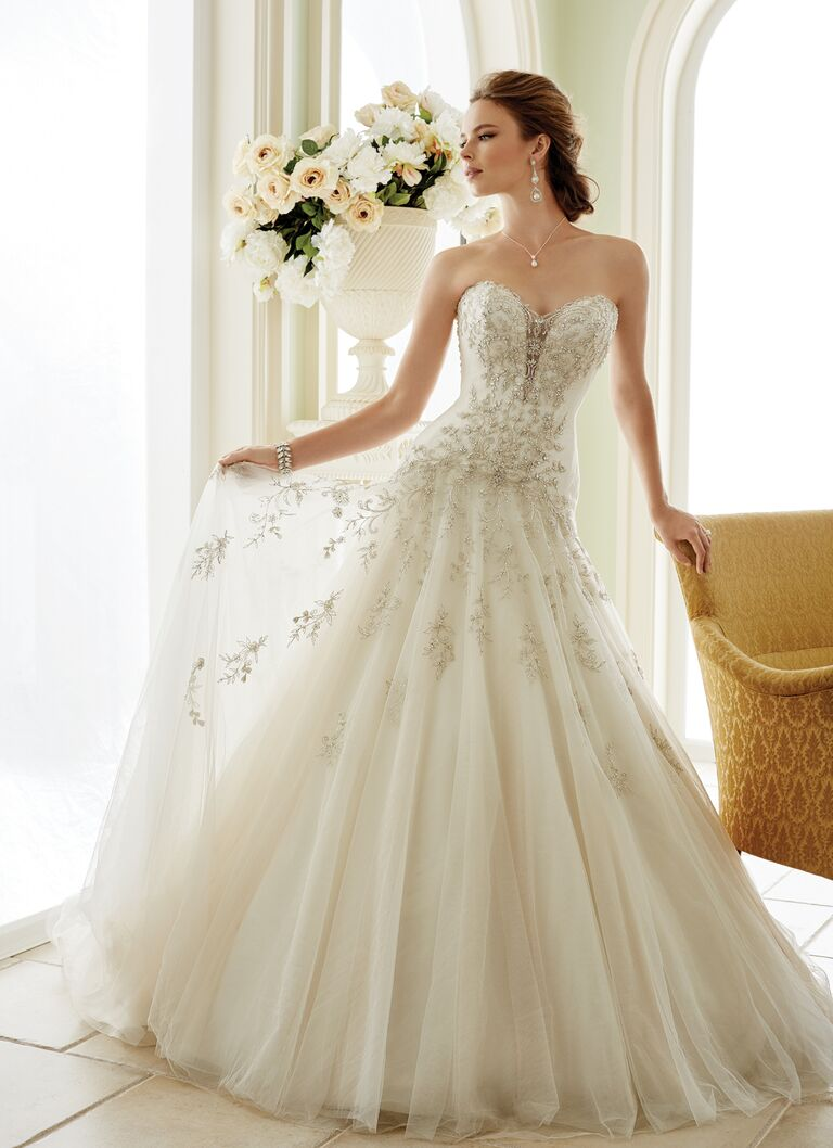 Sophia Tolli Spring 2017 Strapless Embroidered Ball Gown With Beaded Illusion Keyhole And Natural Waist
