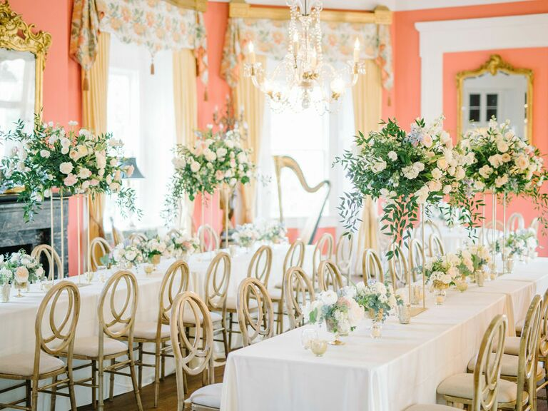 Southern-styled wedding in estate room with antique mirrors and harp