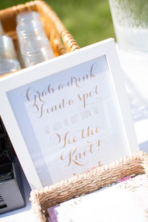 Whimsical Gold-Lettered Welcome Sign