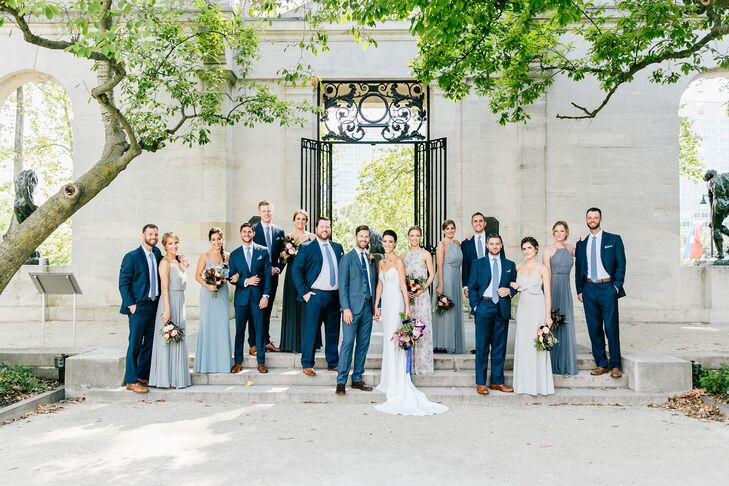 Elegant Wedding Party in Neutral and Blue Attire