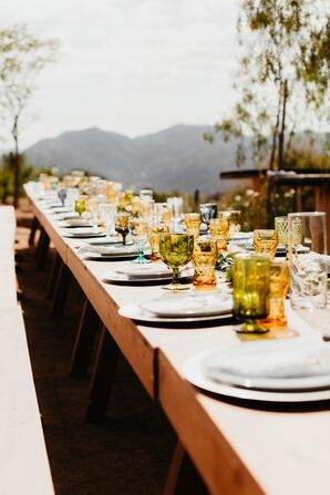 Modern Farm Tables with Colorful Vintage Glassware