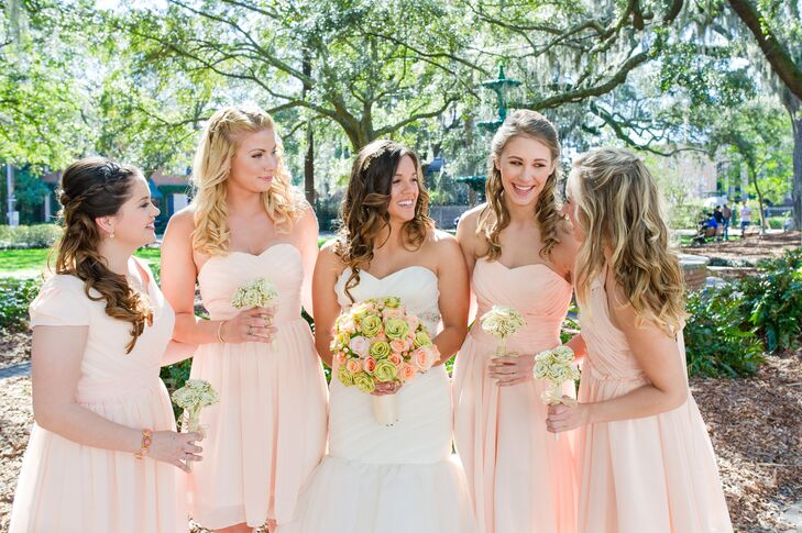 Romantic Blush Bridesmaid Dresses from Etsy