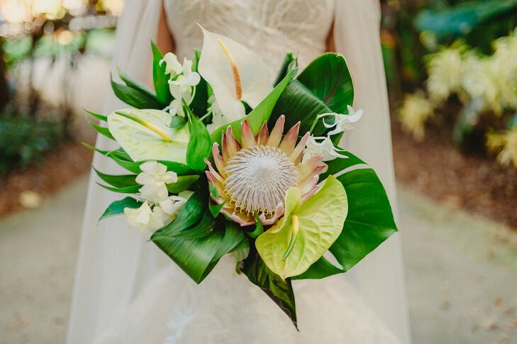 Modern Bouquet with King Protea and Tropical Leaves