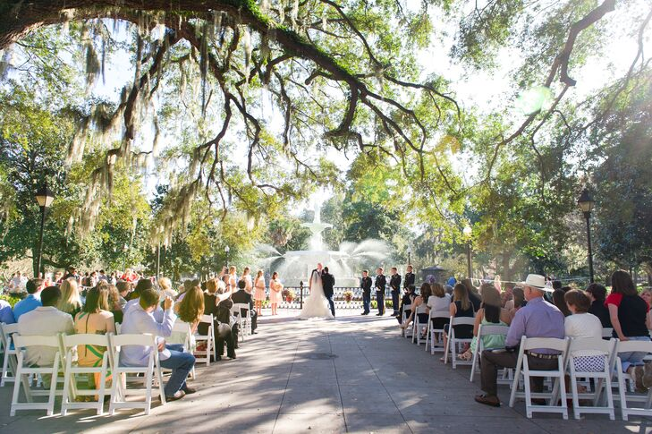 Jessica and Josh exchanged vows at Forsyth Park with an elegant fountain and historic oak trees as their backdrop.