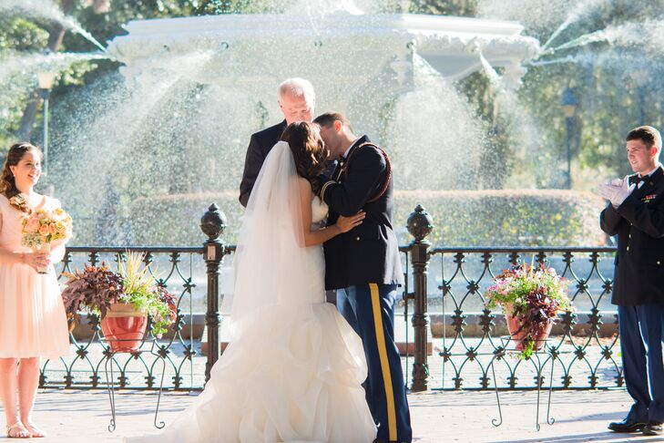 """We combined the military theme with more of our relaxed sense of style,"" says Jessica. ""The ceremony was more formal, as the men were in uniform and we did the arch of swords, but the reception was much more laid-back!"""