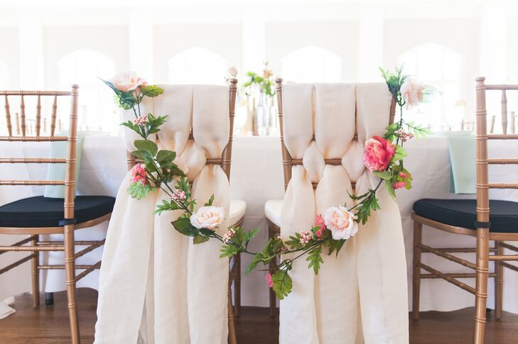 Romantic Sweetheart Table Chairs with Flower Garland