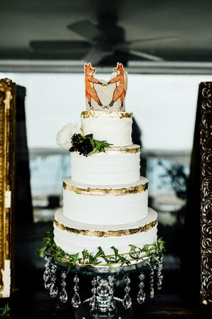 Rustic Round Tiered Cake with Custom Fox Cake Topper
