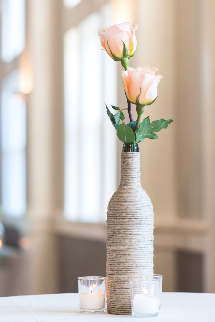 Blush Rose and Twine-Wrapped Wine Bottle Centerpieces