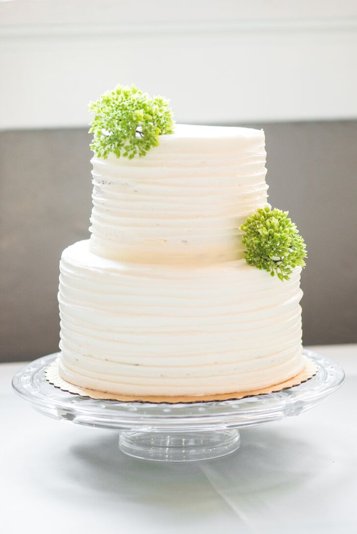 Buttercream Wedding Cake with Green Fresh Flower Accents