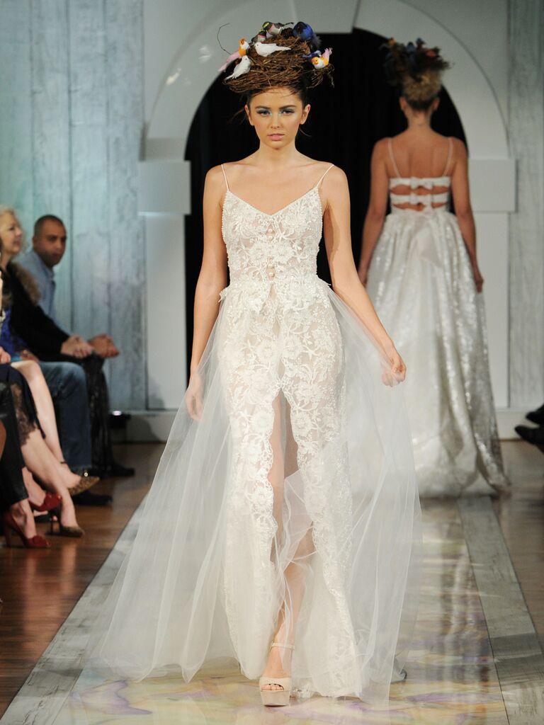 Dany Mizrachi Fall 2019 spaghetti strap lace wedding dress with center slit