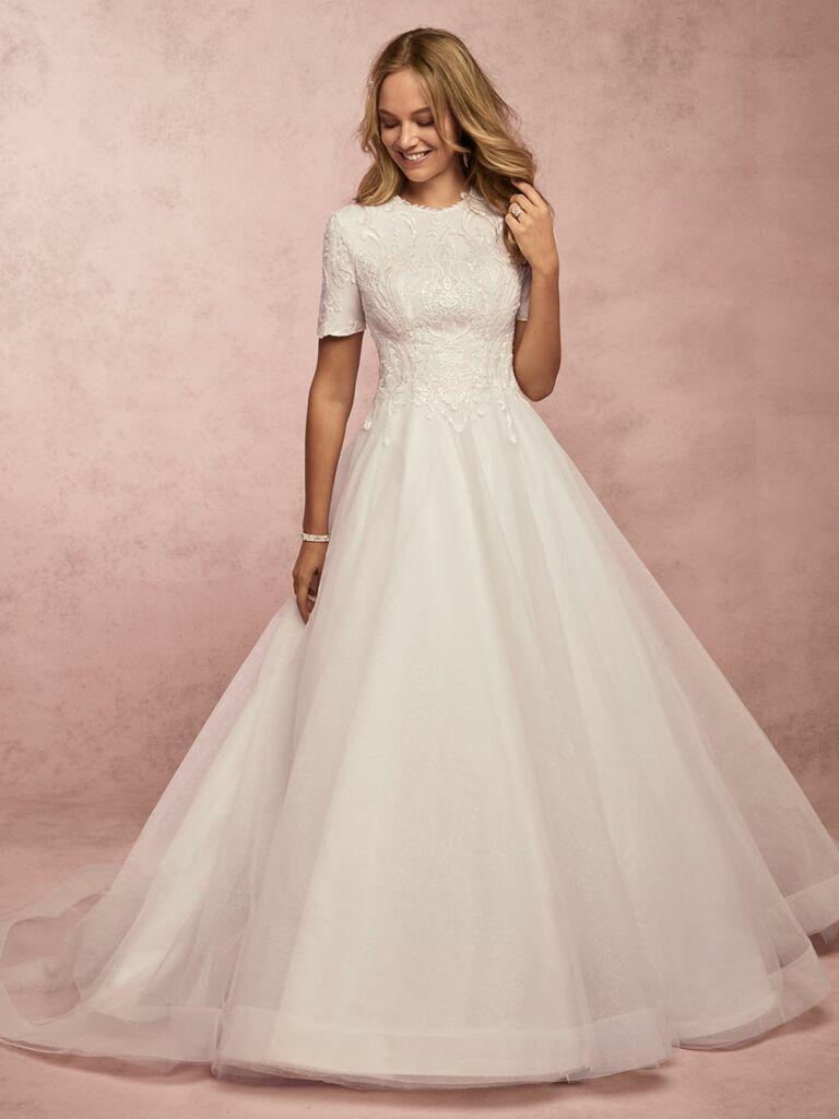 Rebecca Ingram Spring 2019 short sleeve ball gown wedding dress