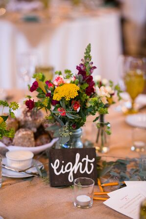 Wildflower Centerpieces with Chalkboard Table Numbers