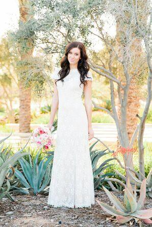 BHLDN Short Sleeve Lace Wedding Dress