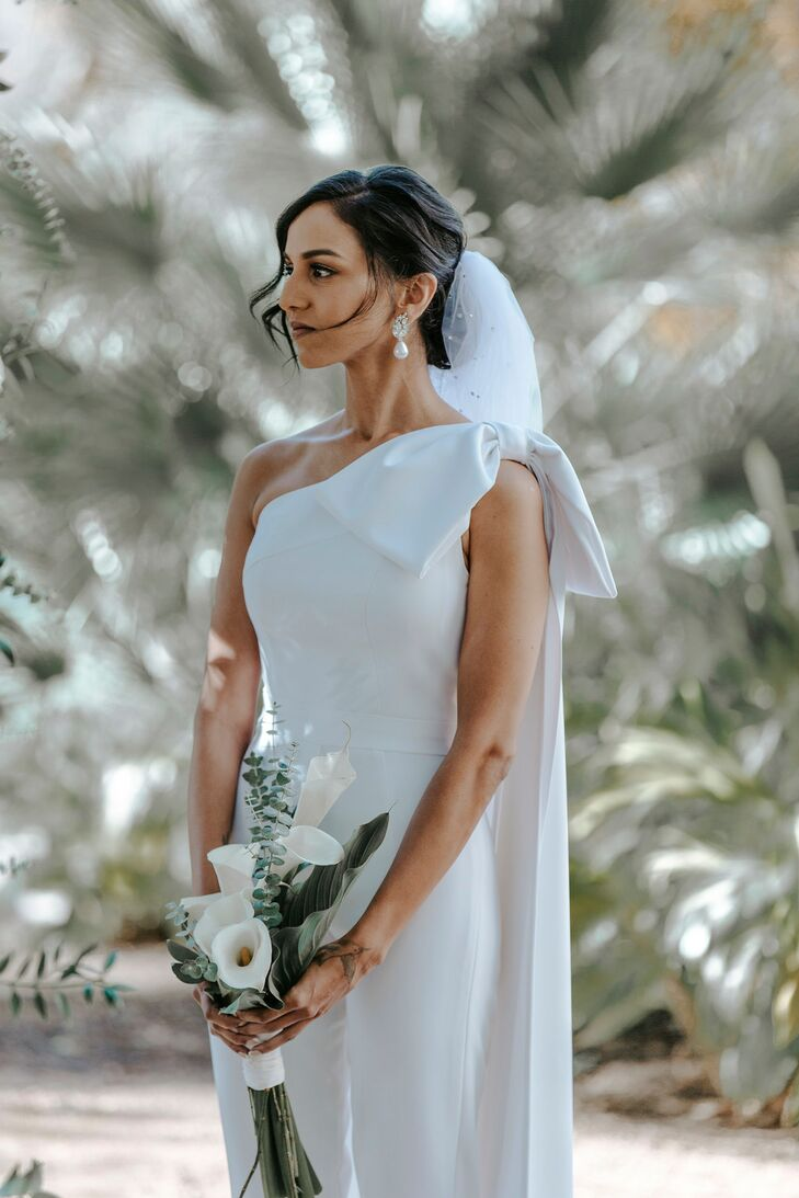 Modern Bride in Minimal Modern Jumpsuit with Veil