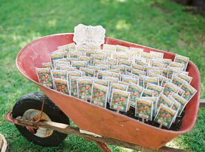 Packs of Seeds as Party Favors in Wheelbarrow