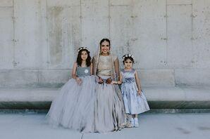 Metallic Tulle Flower Girl Dresses