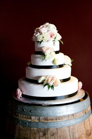Round, Tiered Cake with Black and White Fondant Details