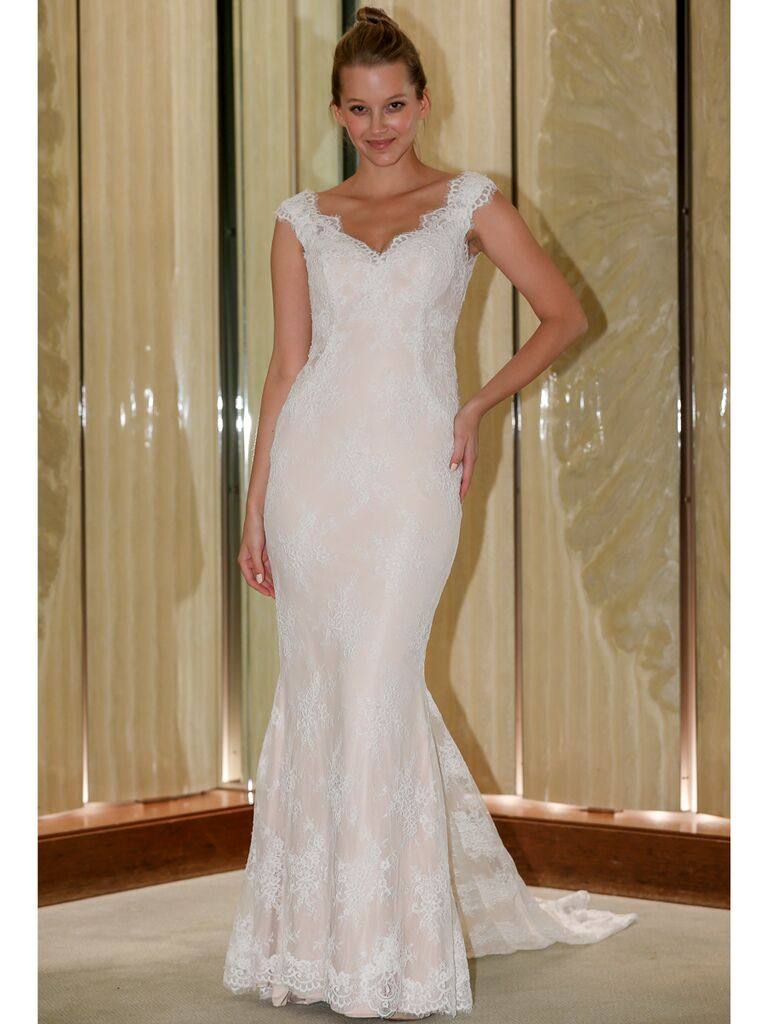 Randy Fenoli Fall 2019 Bridal Collection lace trumpet wedding dress with sweetheart neckline