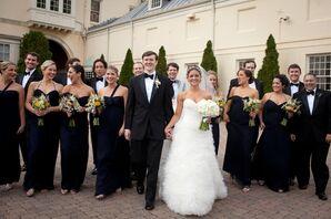 Navy Blue Amsale Bridesmaid Dresses