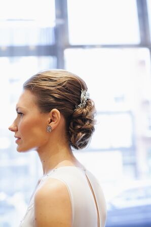 Elegant Bridal Updo with Crystal Hair Comb