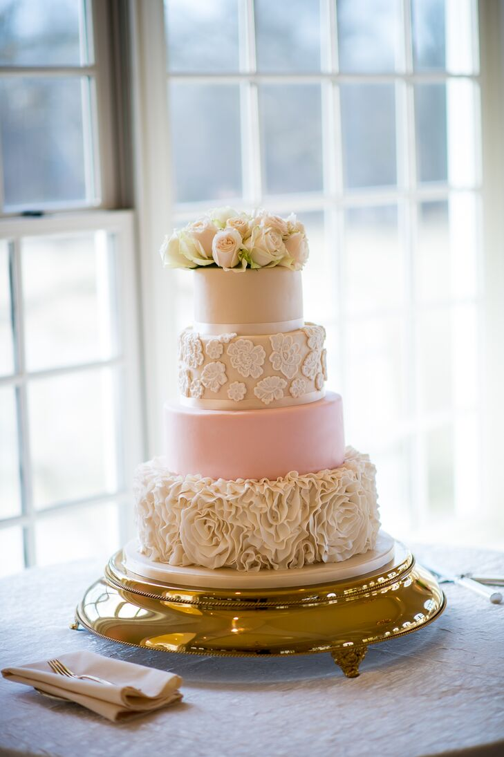 Four Tier Rose Wedding Cake