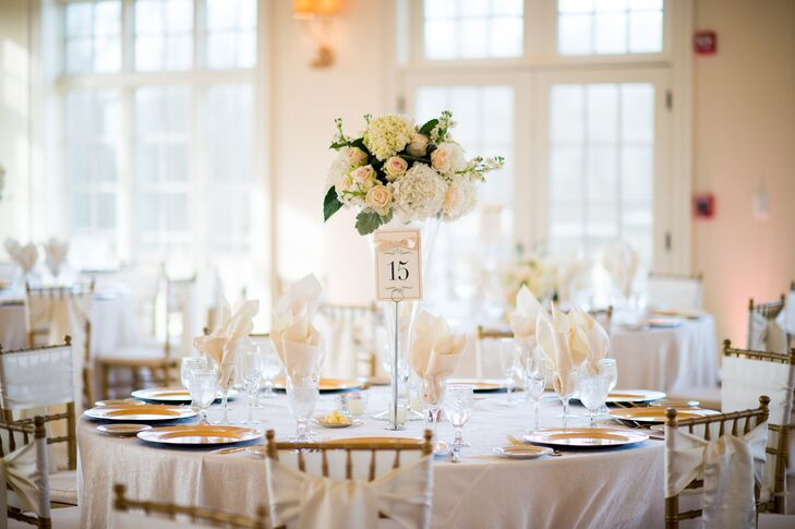 Tall Hydrangea and Rose Centerpieces