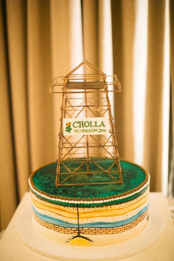 Grooms Cake with Oil Rig Topper